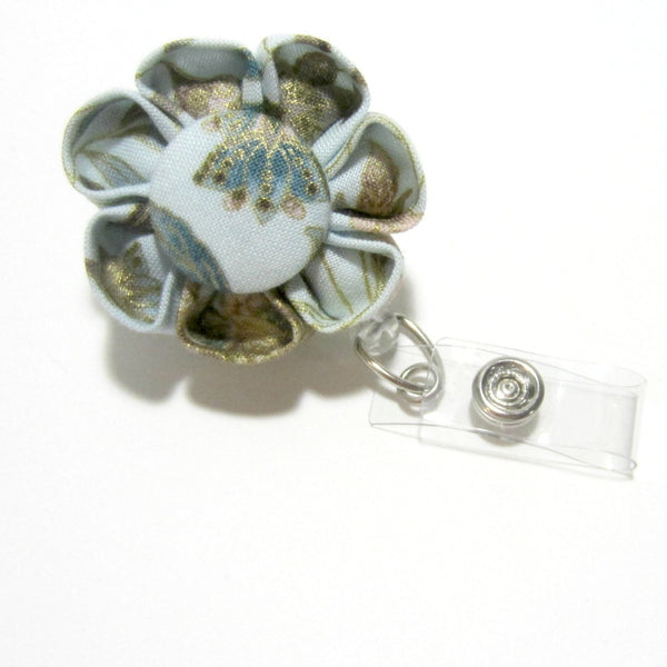 Peacock Blue Batik Flower Retractable Badge Reel, ID Holder, Lanyard - Hold It!