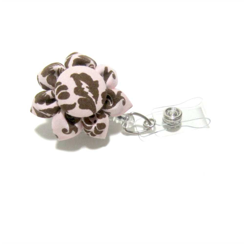Pink & Brown Damask Flower Retractable Badge Reel, ID Holder, Lanyard - Hold It!