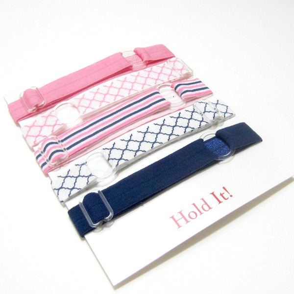 Adjustable Elastic Headband-Set of 5 Pink & Navy Blue - Hold It!