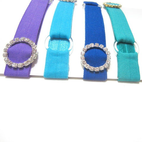 Adjustable Elastic Headband-Set of 4 Purple, Blue Green with Rhinestones - Hold It!