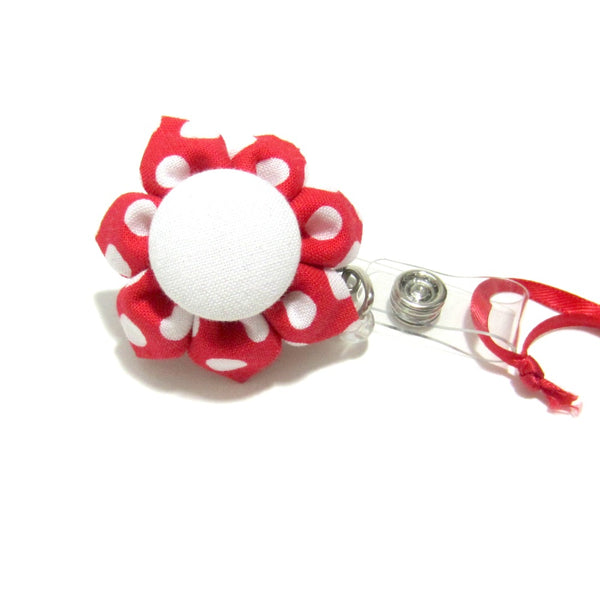 Red & White Polka Dot Flower Retractable Badge Reel, ID Holder, Lanyard - Hold It!