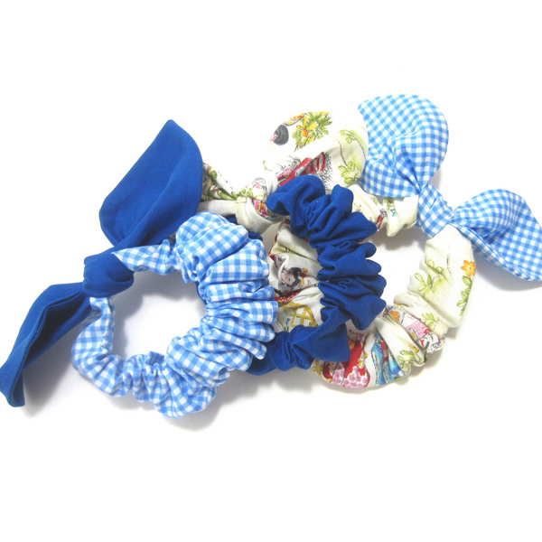 Scrunchies Set of 3 Blue Gingham, Royal Blue, and Japanese Girl - Hold It!