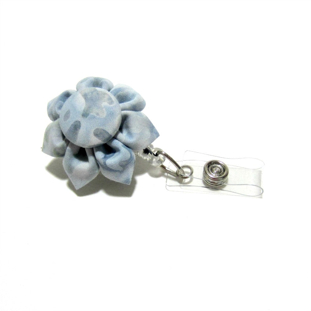Silver Blue Batik Flower Retractable Badge Reel, ID Holder, Lanyard - Hold It!