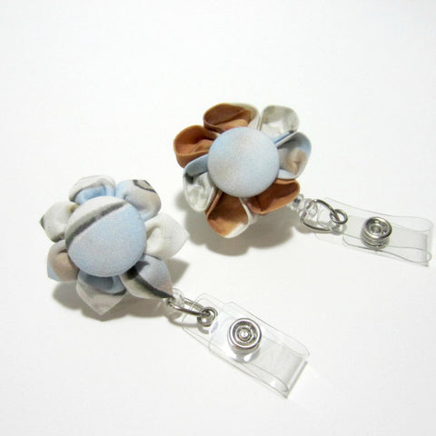 Blue & Brown Flower Retractable Badge Reel, ID Holder, Lanyard - Hold It!