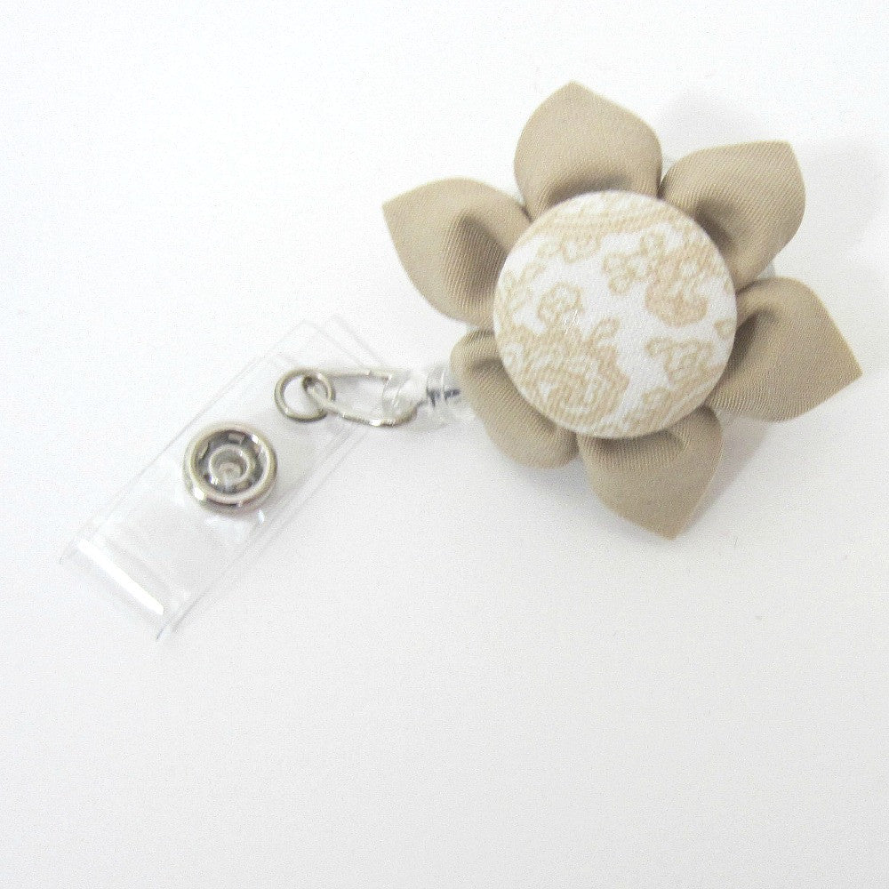 Tan Flower Retractable Badge Reel, ID Holder, Lanyard - Hold It!