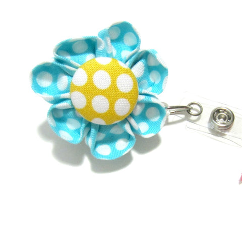 Turquoise & Yellow Polka Dot Flower Retractable Badge Reel, ID Holder, Lanyard - Hold It!