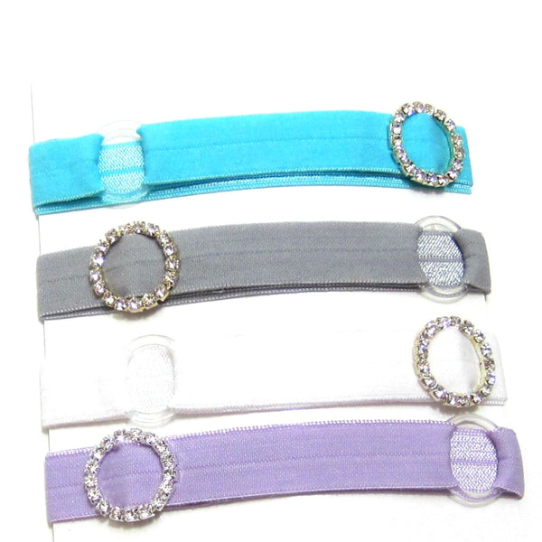 Adjustable Elastic Headband-Set of 4 Pastel with Rhinestones - Hold It!