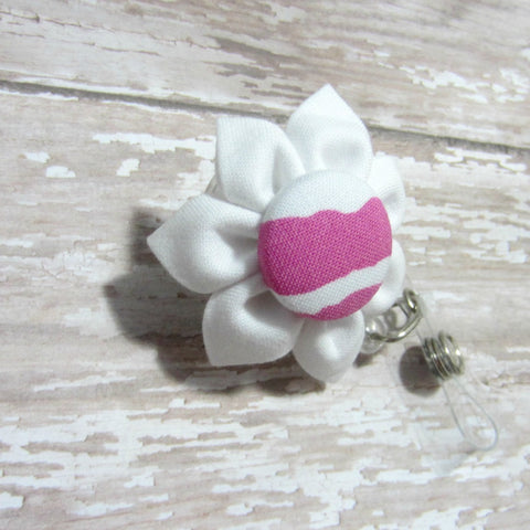White & Hot Pink Retractable Badge Reel, ID Holder, Lanyard