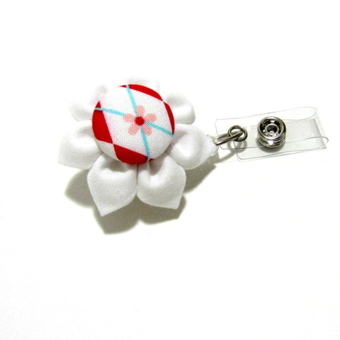 White & Red Argyle Flower Retractable Badge Reel, ID Holder, Lanyard