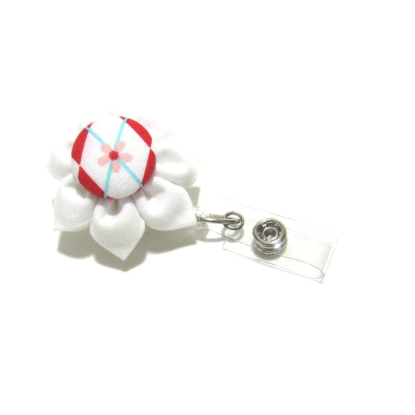 White & Red Argyle Flower Retractable Badge Reel, ID Holder, Lanyard - Hold It!