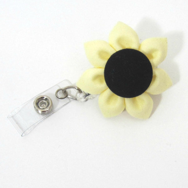 Yellow & Black Flower Retractable Badge Reel, ID Holder, Lanyard