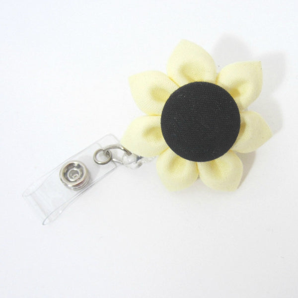 Yellow & Black Flower Retractable Badge Reel, ID Holder, Lanyard - Hold It!