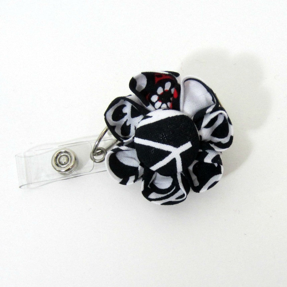 Black, Red & White Flower Retractable Badge Reel, ID Holder, Lanyard - Hold It!