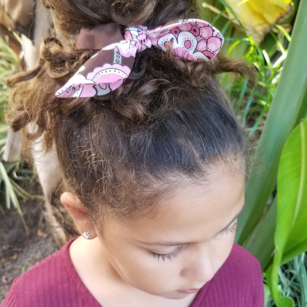 Scrunchies Set of 3 Brown & Pink