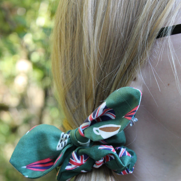 Scrunchies Set of 3 Green British Flags, Icons & Navy Blue