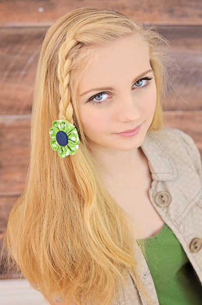 Green & Navy Polka Dot Kanzashi Fabric Flower-Available in 4 Styles - Hold It!