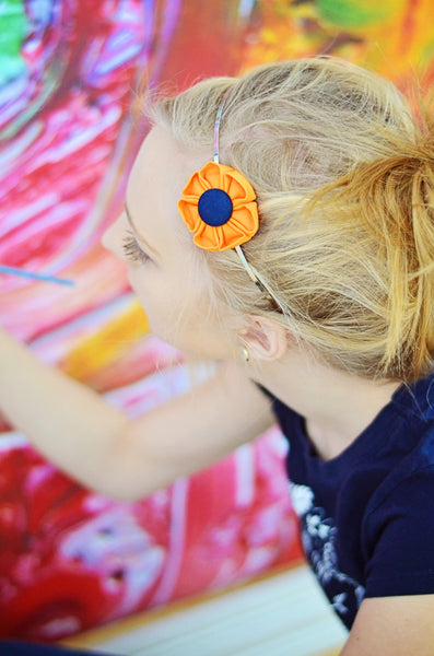 Orange & Navy Blue  Kanzashi Fabric Flower-Available in 4 Styles - Hold It!