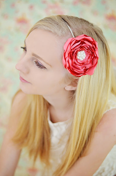 Satin Fabric Flower Metal Headband-Available in 35 Colors! - Hold It!