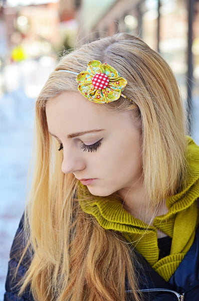 Yellow Floral Kanzashi Fabric Flower-Available in 4 Styles - Hold It!