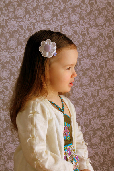White & Lavender Kanzashi Fabric Flower-Available in 4 Styles