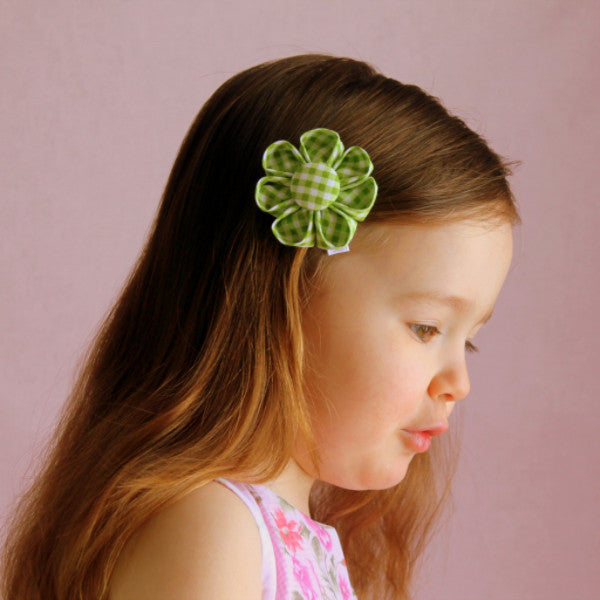Green Gingham Kanzashi Fabric Flower-Available in 4 Styles - Hold It!