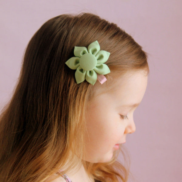 Spring Green Kanzashi Fabric Flower-Available in 4 Styles - Hold It!