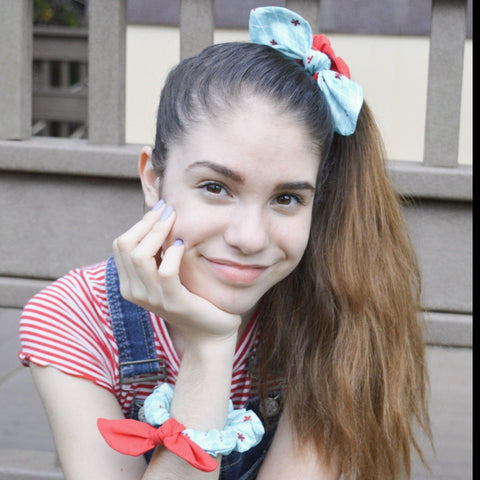 Scrunchies Set of 3 Turquoise & Red Polka Dot & Argyle - Hold It!