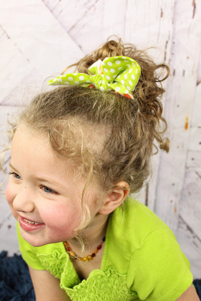Scrunchies Set of 3 Lime Green Dot, Schoolbus Orange, Green & Orange Floral - Hold It!