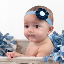 Navy Blue & Light Blue  Kanzashi Fabric Flower-Available in 4 Styles - Hold It!