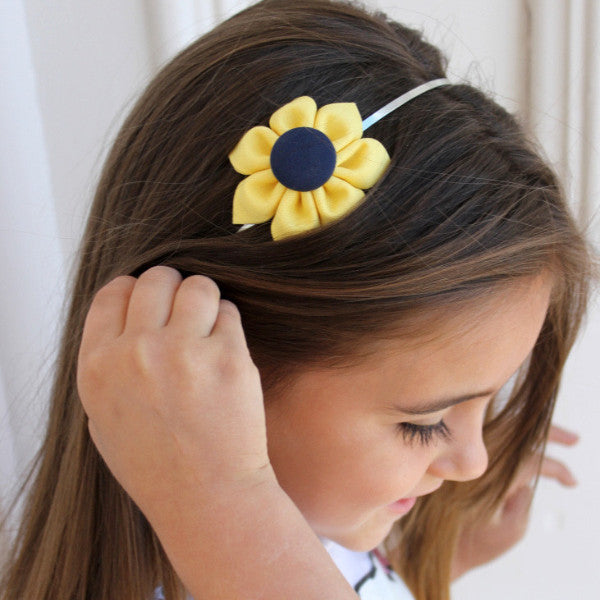 Yellow & Navy Blue Kanzashi Fabric Flower-Available in 4 Styles - Hold It!