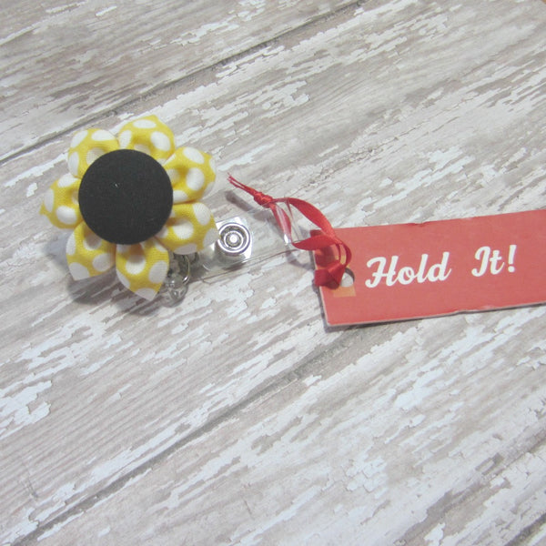 Yellow & Black Polka Dot Flower Retractable Badge Reel, ID Holder, Lanyard - Hold It!