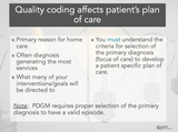 Quality Coding Affects Patient's Plan of Care, bullets points stating how and a note about PDGM