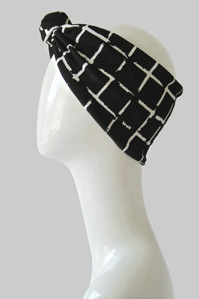 BLACK GRID TEXTURE HEADWRAP