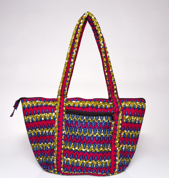 AYINKEH TOTE IN PINK GREEN MULTI PRINT