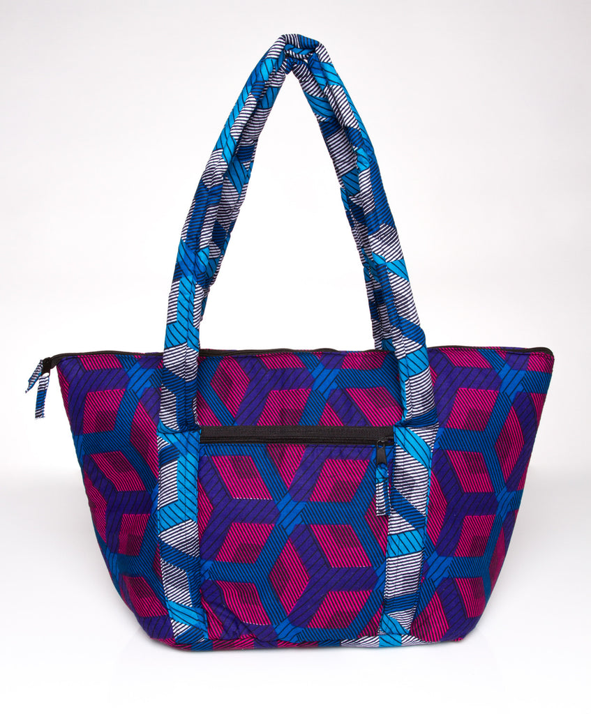 AYINKEH TOTE IN FUSCHIA TURQ HEXAGON PRINT