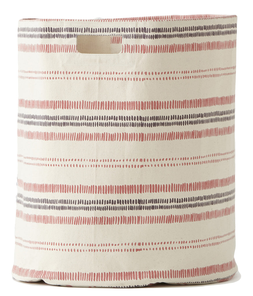 RAILROAD STRIPE HAMPER-BERRY