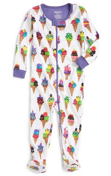 BABY FOOTED COVERALL ICE CREAM PRINT