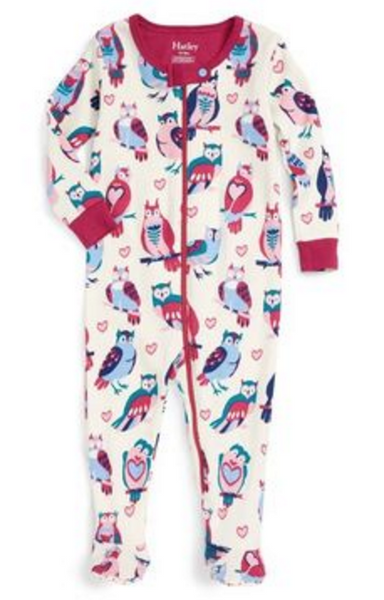 BABY FOOTED COVERALL OWL PRINT