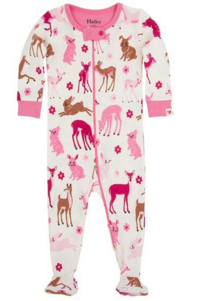 BABY FOOTED COVERALL DEER & BUNNY PRINT