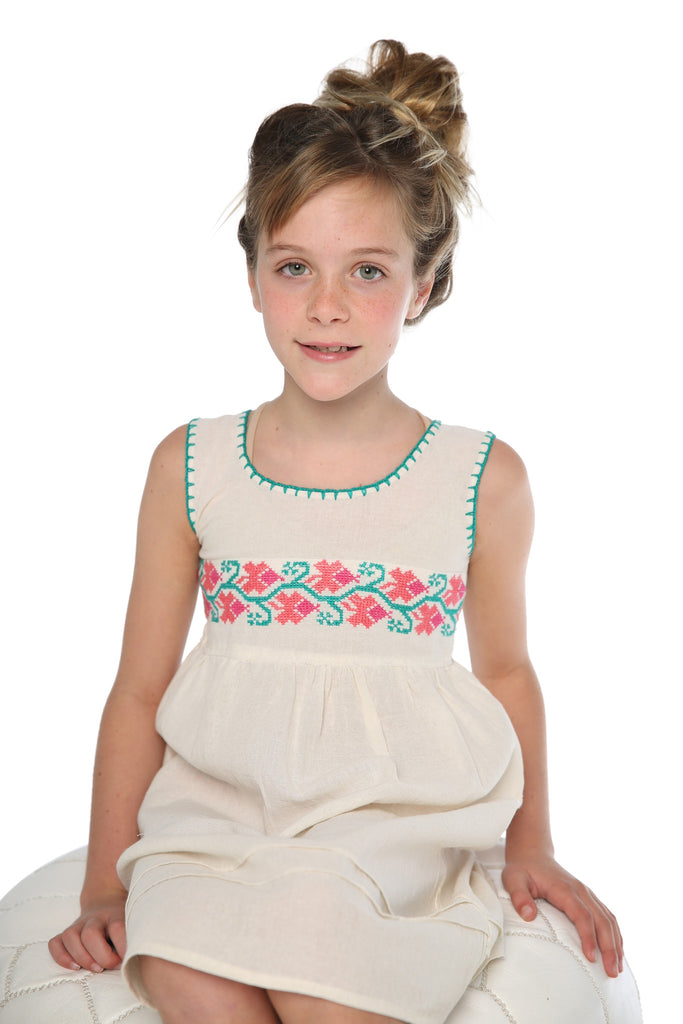 STITCHED EMBROIDERED DRESS PINK AGE 4-7