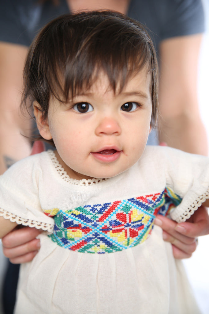 HAND EMBROIDERED TODDLER TEE/DRESS PRIMARY PRINT AGE 1-3