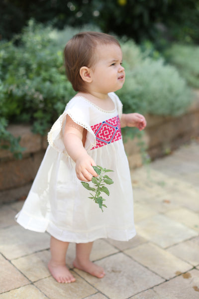 HAND EMBROIDERED TODDLER TEE/DRESS PINK & BLUE