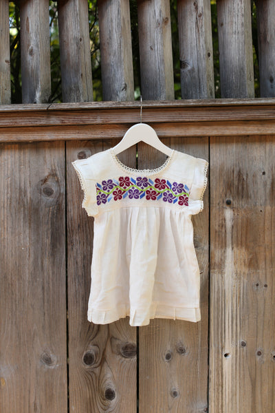 HAND EMBROIDERED TODDLER TEE/DRESS MULTI FLORAL