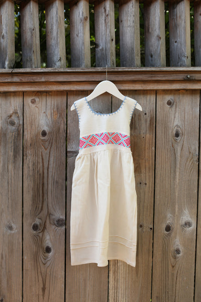STITCHED EMBROIDERED DRESS PINK & BLUE