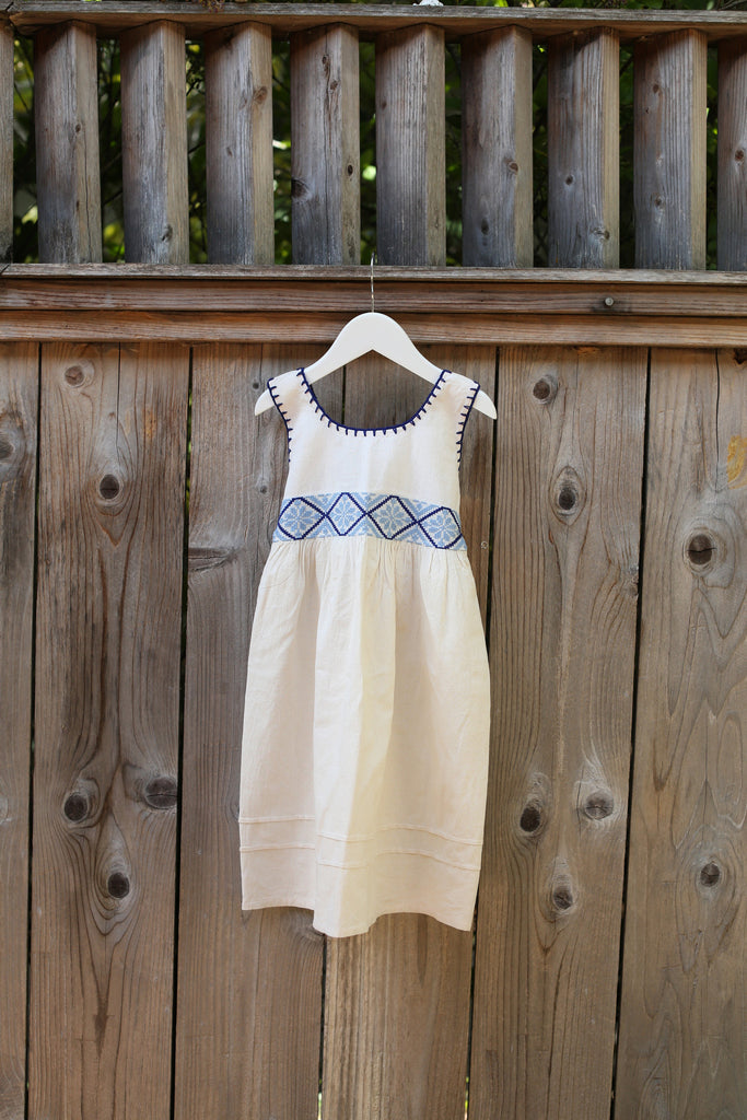 STITCHED EMBROIDERED TANK DRESS BLUE AGE 4-7