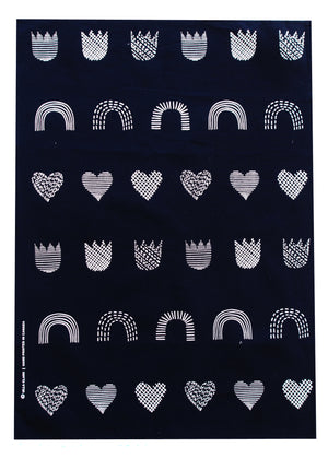 Dots & Lines Teatowel - Black + White