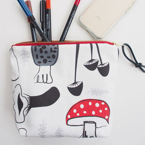 Printed canvas travel pouch [Forest Fungi]