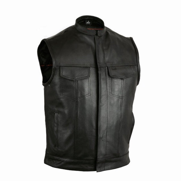 Vest Mc Men's Collared Milled Leather toxsQrdBhC