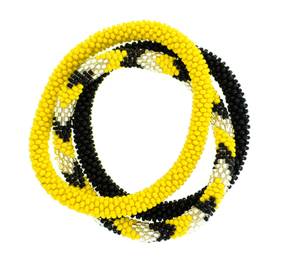 Team Spirit Roll-On® Bracelets <br> Black & Yellow