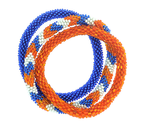 Team Spirit Roll-On® Bracelets <br> Blue & Orange